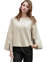 Women's Casual/Daily Simple Regular HoodiesSolid White Round Neck Long Sleeve Cotton /  Winter Medium Inelastic