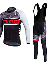 Miloto® Cycling Jersey with Bib Tights Men's / Unisex Long Sleeve BikeBreathable / Thermal / Warm / Quick Dry / Fleece Lining / Moisture