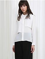 Damen Solide Street Schick Ausgehen Hemd,Rundhalsausschnitt Frühling / Herbst Langarm Rosa / Weiß Polyester Mittel