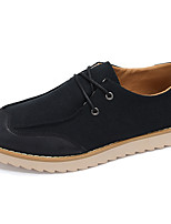Men's Sneakers Spring / Fall Comfort / Round Toe Leather Casual Flat Heel Lace-up Black / Gray Sneaker