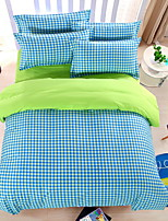 Bedtoppings Comforter Duvet Quilt Cover 4pcs Set Queen Size Flat Sheet Pillowcase Green Blue Cheque Pattern Prints Microfiber