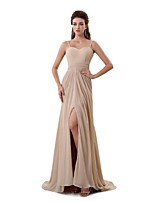 Formal Evening Dress A-line Spaghetti Straps Sweep / Brush Train Chiffon with Pleats / Split Front