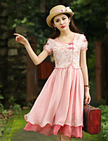 Our Story Women's Going out Vintage Sheath DressFloral Round Neck Knee-length Short Sleeve Pink Polyester Summer
