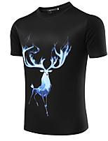 Herren T-shirt-Druck / Einfarbig Freizeit / Büro / Formal / Sport / Übergröße Baumwolle / Leinen / Elasthan Kurz-Schwarz