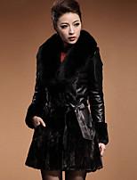 Женский На каждый день Однотонный Пальто с мехом V-образный вырез,Уличный стиль Зима Черный Длинный рукав,Искусственный мех /
