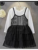Девичий Платье,На каждый день,С принтом,Хлопок / Искусственный шёлк,Весна / Осень,Черный