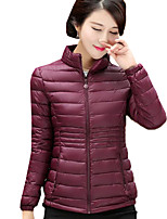 Women's Solid Plus Size All Match Padded Coat,Simple Stand Long Sleeve
