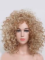 color rubio rizado de la manera mujeres rizadas pelucas sintéticas de Europa y América