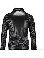 Мужской Полиуретановые Куртка На каждый день,Однотонный,Длинный рукав,Черный