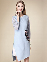 DOF Women's Casual/Daily Cute Sheath DressSolid Round Neck Knee-length  Sleeve Blue Cotton Fall High