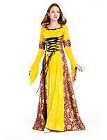 Costumes de Cosplay / Costume de Soirée Reine Fête / Célébration Déguisement Halloween Jaune Mosaïque Robe / Plus d'accessoires Halloween