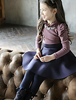 Girl's Casual/Daily Patchwork DressCotton Winter / Fall Purple / Yellow