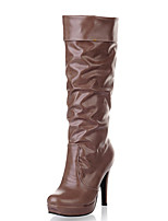Women's Shoes Stiletto Heel Round Toe Platform Ruffles Mid Calf Boot More Color Available
