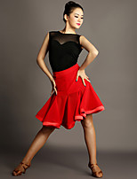 Latin Dance Outfits Women's Performance Chinlon / Tulle Draped 2 Pieces Red Latin Dance Sleeveless