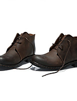 Men's Boots Fall Bootie / Round Toe Leather Casual Flat Heel Lace-up Black / Brown Others
