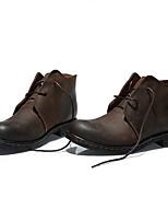 גברים-מגפיים-עור-מגפונים / מעוגל-שחור / חום-קז'ואל-עקב שטוח