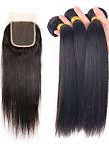 4Pcs/Lot Brazilian Virgin Hair Straight Hair Weft With 1Pcs Lace Closure Free/Middle /Three Part Raw Human Hair Weaves