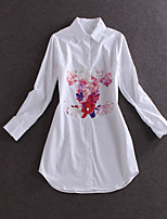 Boutique S Women's Casual/Daily Simple Spring ShirtFloral Shirt Collar Long Sleeve White Cotton Medium