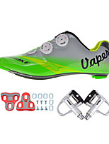Cycling Shoes Unisex Outdoor / Road Bike 004 Sneakers Damping / Cushioning Green / Gray-sidebike And Silver Lock Pedals