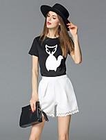 FRMZ  Women's Casual/Daily Cute Summer T-shirtAnimal Print Round Neck Short Sleeve Black