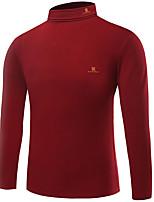 Herren T-shirt-Einfarbig / Buchstabe Freizeit / Büro / Formal / Sport / Übergröße Baumwolle / Elasthan Lang-Schwarz / Rot / Weiß