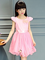 Girl's Casual/Daily Floral DressCotton Summer Pink / Purple / White
