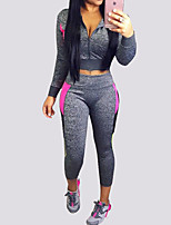 Women's Casual/Daily / Sports Simple All Seasons Set PantPrint V Neck Long Sleeve Gray Cotton Opaque