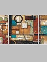 Ручная роспись Абстракция Картины маслом,Modern / Средиземноморье 3 панели Холст Hang-роспись маслом For Украшение дома