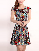 Brand Fashion Women's Simple / Street chic Print Plus Size / Sheath Dress,Round Neck Above Knee Cotton / Polyester
