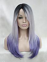 качество жаростойкий черный корень с белым и фиолетовый микс три тона ломбер длинный прямой парик