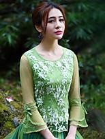 Tee-shirt Aux femmes,Broderie Sortie Vintage Printemps / Automne Manches Longues Col Arrondi Vert Polyester Moyen