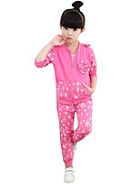 Girl's Casual/Daily Solid Clothing SetCotton Spring / Fall Green / Pink / Red