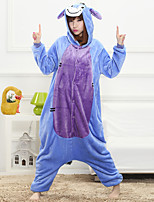 Unisex Cashmere / Polyester Cute Cartoon One-piece Pajama Winter Thick Warm Sleepwear Blue