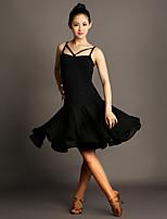 Latin Dance Dresses Women's Performance Chiffon Satin / Viscose Draped 1 Piece Black