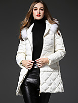 FRMZ Women's Solid White Down CoatSimple Hooded Long Sleeve