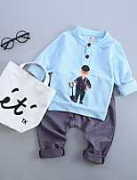 Boy's Casual/Daily Solid Hoodie & Sweatshirt / PantsCotton Spring / Fall Blue / Green / Pink