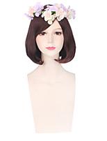 couleur femmes brunes cosplay perruques synthétiques perruques de mode sans colle