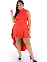 Women's Formal / Party/Cocktail / Plus Size Sexy Trumpet/Mermaid Dress,Solid Turtleneck Asymmetrical Sleeveless Red Polyester SummerMid