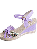 Women's Sandals Summer Sandals PU Casual Wedge Heel Buckle Black / Blue / Purple Others