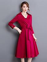 Feminino Bainha Vestido,Happy-Hour Moda de Rua Sólido Decote V Médio Manga ¾ Vermelho / Preto Poliéster Outono Cintura Média