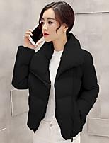 Women's Solid Black / Gray CoatSimple Stand Long Sleeve