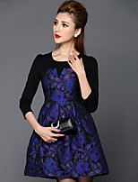Women's Plus Size Simple A Line DressEmbroidered Round Neck Mini  Sleeve Purple Nylon Fall Mid Rise Inelastic Medium