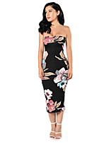 Women's Casual/Daily Sexy Slim Backless Bodycon Dress Floral Strapless Midi Sleeveless Mid Rise Micro-elastic Medium