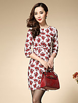 Boutique S Women's Plus Size / Work Chinoiserie Sheath DressFloral Crew Neck Above Knee  Sleeve Red Others Spring
