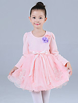 Girl's Casual/Daily Floral Dress,Cotton / Polyester Winter / Fall Pink / Purple