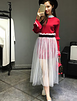 Boutique S Women's Going out Sophisticated Spring Shirt SkirtSolid Stand Long Sleeve Red / Black