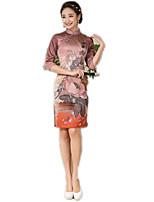 One-Piece 3/4-Length Sleeve Medium Length Coffee Lolita Dress Polyester