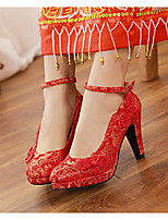 Women's Heels Spring / Fall Round Toe PU Wedding Chunky Heel Flower Red Others