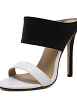 Women's Sandals Summer Sandals PU Casual Stiletto Heel Others Black and White Others