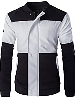 Men's Long Sleeve Casual / Work / Formal / Sport / Plus Size JacketPU / Cotton Solid / Letter / Color Block White